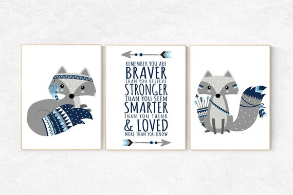 Fox nursery decor, nursery decor woodland, nursery decor fox, tribal nursery decor, woodland nursery, be brave little one baby room wall art