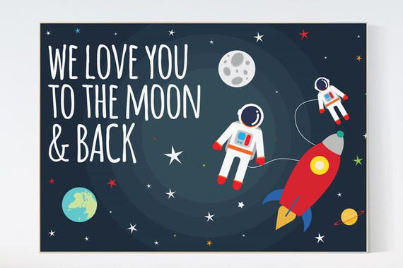 Space nursery decor, baby boy nursery, we love you to the moon and back, outer space nursery, space print, Space themed nursery prints