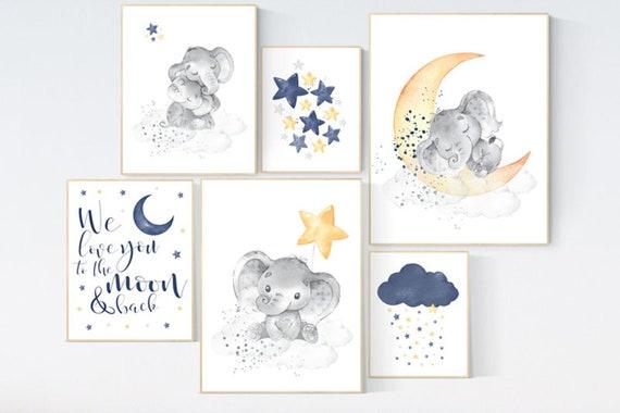 Canvas Listing: Nursery decor boy elephant, navy yellow gray, nursery wall art boy, navy Blue, moon and stars, navy nursery, boy nursery