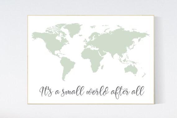 World map nursery, sage green world map, world map wall art nursery, nursery wall art world map