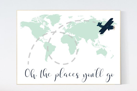 Mint navy nursery decor, Oh the places you'll go, World Map wall art, world map nursery, world map wall art, gender neutral nursery decor