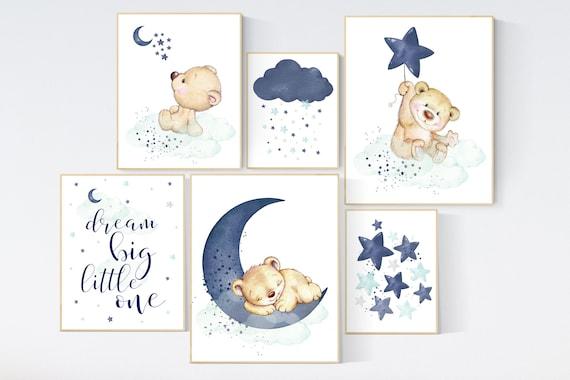 Nursery decor bear, animal nursery prints, navy mint nursery, navy blue nursery, baby room wall art, woodland animal prints, teddy bear