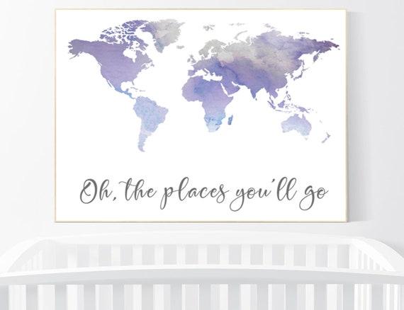 Nursery decor Purple, World map watercolor, Oh the places you will go nursery, world map nursery print, nursery art print, lilac, lavender