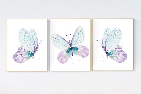 Nursery decor girl butterfly, purple mint, Butterfly Nursery Art, Butterfly Nursery Decor for Baby Girl, lilac, lavender, aqua, mint purple