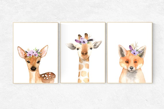 Nursery decor purple, Woodland nursery, flower animal print, lilac nursery, animal flower crown, lavender nursery, nursery prints animals
