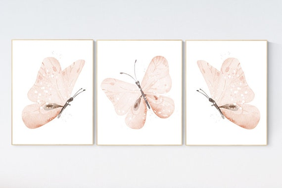Nursery decor girl butterfly, peach, Butterfly Nursery Art, Girl Nursery Art, Butterflies Nursery Decor for Baby Girl, Butterfly Wall Art