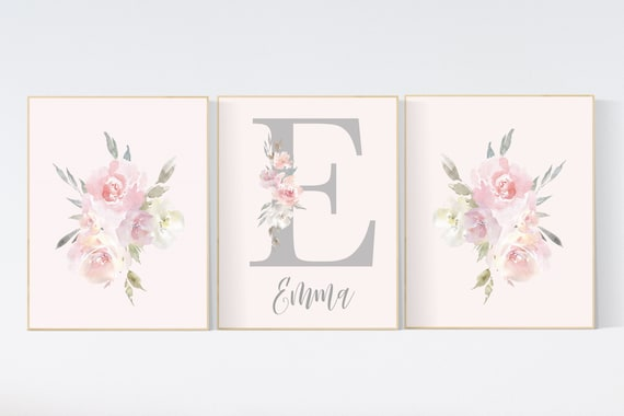 Nursery decor girl floral, blush flowers, blush nursery, blush pink, Floral Letter Name, floral nursery print, Girls Room Sign, Nursery Art