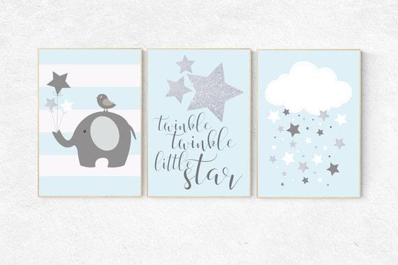 Twinkle twinkle little star nursery, blue gray nursery decor, baby boy nursery, hot air balloon nursery art baby room decor elephant nursery