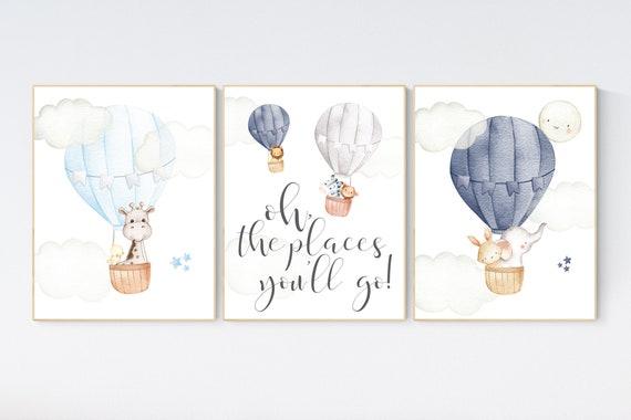 Nursery decor animals, hot air balloon, elephant giraffe, bear, gender neutral, nursery decor navy blue, gray, grey, neutral colors