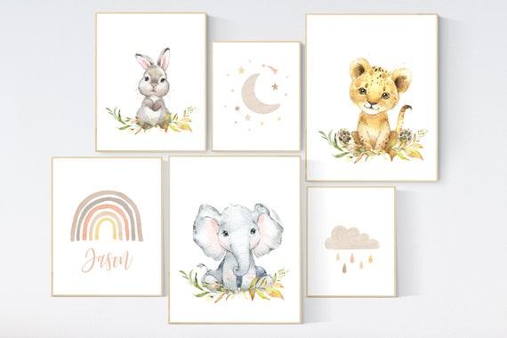 nursery decor neutral, animal prints, gender neutral, earth colors, rainbow nursery, nursery wall art animals, nursery decor woodland