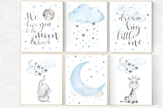 Nursery decor boy elephant, nursery wall art boy, moon and stars, nursery decor giraffe, elephant nursery art, Blue and gray, cloud nursery