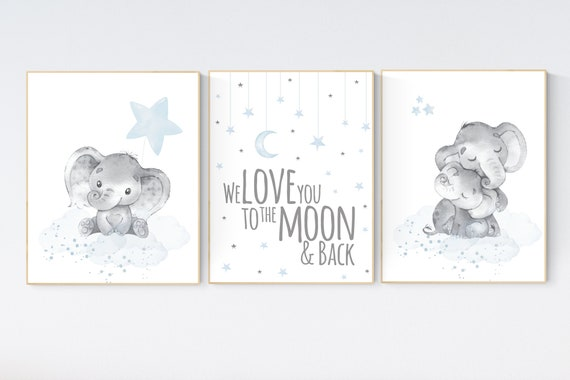 Nursery decor boy elephant,  blue nursery decor, we love you to the moon and back, moon and stars, dusty blue nursery art, elephant nursery