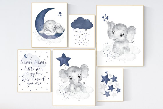 Nursery decor boy navy, elephant nursery wall art, navy Blue, moon and stars, navy nursery, boy nursery wall decor, elephant prints, moon