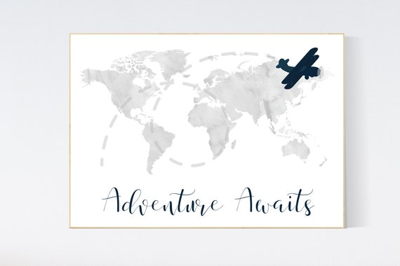 Nursery decor boy, world map, gray nursery, gray navy blue, adventure awaits, adventure nursery, travel theme, plane nursery wall art