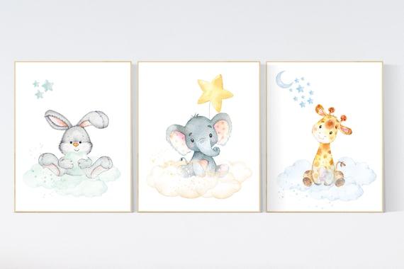 Nursery decor jungle animals, gender neutral nursery, animal nursery prints, Nursery wall art girl elephant, giraffe, bunny, set of 3 prints