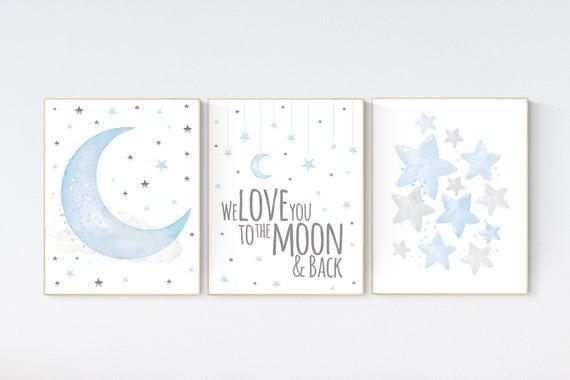 Blue and gray, Nursery decor boy, nursery decor, boys room decor, we love you to the moon and back , clouds and stars, blue grey nursery