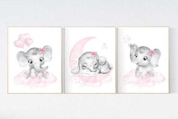 Canvas Listing: Nursery wall art girl elephant, Nursery decor girl pink and gray, girl nursery ideas, nursery prints girl animal, girl room