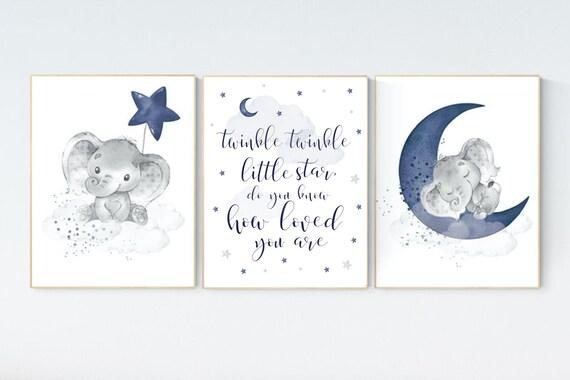 Nursery decor elephant, navy nursery decor, twinkle twinkle little star, moon and stars, navy blue nursery art. baby room, elephant nursery