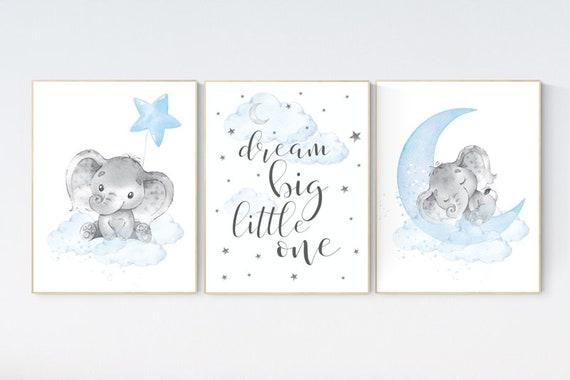 Nursery decor boy elephant, nursery wall art elephant, baby room decor boy, dream big little one, Elephant Nursery Art, Baby Boy Nursery Art