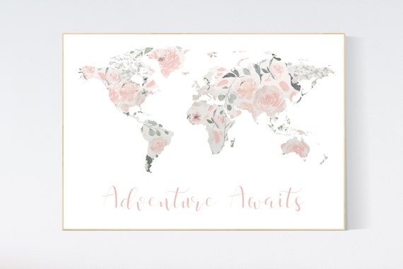 Floral World Map, Girl Nursery Decor, Travel Nursery Art, floral Nursery Print,  blush nursery, Nursery baby girl room, Adventure Awaits