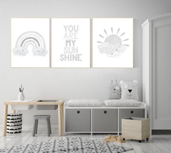 Nursery decor gender neutral, grey nursery, Nursery prints rainbow, nursery wall art neutral, gray nursery, moon star, cloud, nursery art