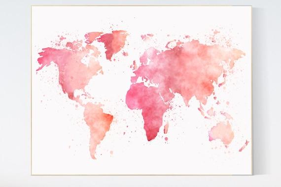 Map nursery art world map nursery decor girl travel theme etsy image 0 gumiabroncs Images