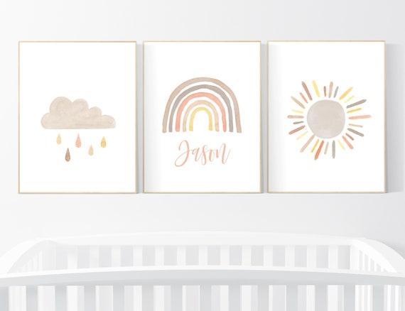 Nursery decor gender neutral, rainbow nursery art, Rainbow Wall Art, rainbow Print Set, Cloud Rainbow Sun, nursery decor name, Rainbow print