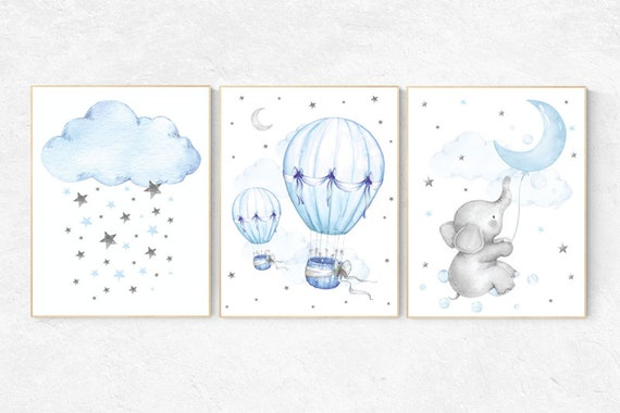 Nursery wall art elephant, Nursery decor boy hot air balloon, blue and gray, baby room decor, nursery prints, baby room wall art cloud stars