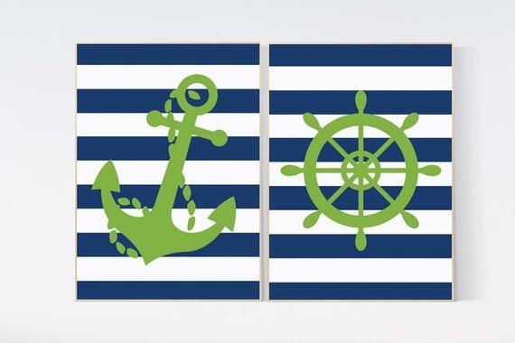 Nursery decor boy nautical, nursery wall art, nautical boy nursery, Navy green nursery decor, nautical baby room art. Nautical Nursery