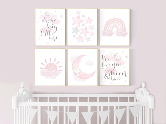 Nursery decor girl pink and gray, pink grey nursery, moon and star, girl nursery wall art, nursery prints girl, rainbow nursery wall decor