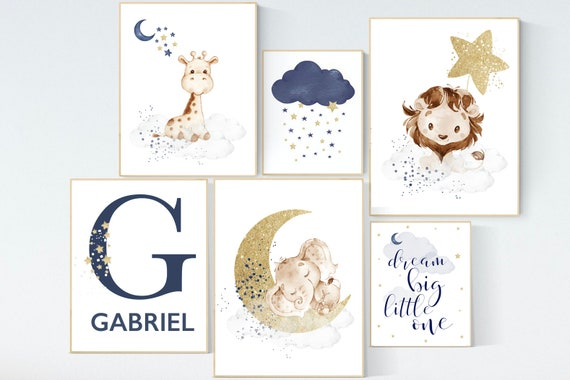 Nursery decor boy elephant, lion, giraffe, nursery wall art boy, navy Blue gold, moon and stars, boy nursery decor, animal nursery print set