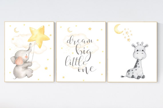 Nursery wall art neutral, nursery wall art elephant giraffe, moon and stars, gender neutral, baby room decor, baby room wall art, yellow