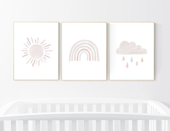 Nursery prints rainbow, blush pink Nursery decor girl, nursery wall art, moon, star, cloud, nursery wall art, blush, rainbow prints