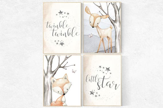 Twinkle Twinkle Little Star, woodland nursery, gender neutral nursery decor, nursery prints, nursery prints animals, woodland animals