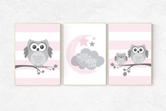 Pink nursery decor, Owl nursery wall art, we love you to the moon, baby girl room decor, owl nursery decor baby girl nursery decor nursery