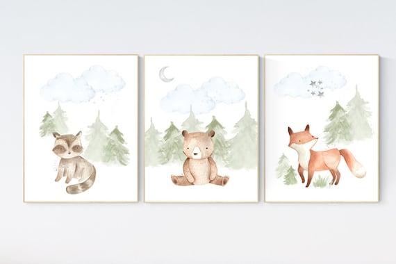 Nursery decor woodland, Woodland Nursery Wall Art, Woodland Print Set, animal prints, Woodland Animal Prints, gender neutral nursery