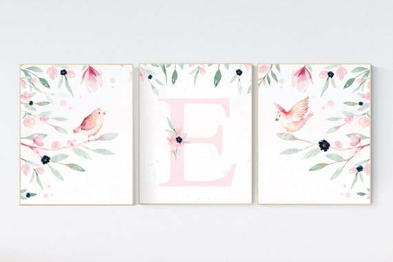 Baby girl wall decor, Girl nursery decor, pink navy, bird nursery wall art, floral nursery, flower nursery, Baby Girl Nursery, Bird Theme