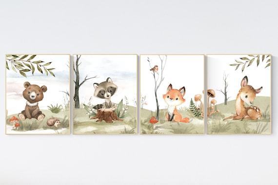 Nursery decor woodland, jungle animals, gender neutral nursery, Woodland Nursery Wall Art, Woodland Print Set, animal prints,