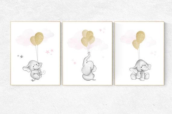 Nursery decor girl, elephant balloon print, nursery wall art girl elephant, gold and pink nursery decor, gold nursery art, nursery prints