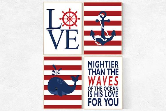 Nautical boy nursery, mightier than the waves, nautical baby room, Nautical Nursery Wall Art, navy red nursery decor, sailor nursery prints