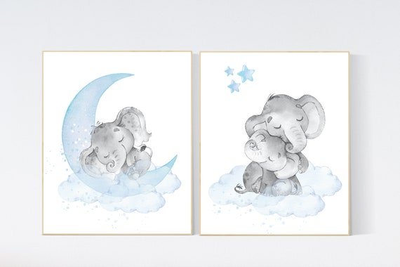 Nursery decor boy elephant, nursery wall art elephant, Elephant Nursery, boy nursery art, moon and stars, elephant nursery