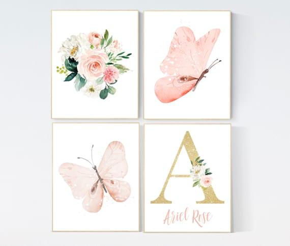 Nursery decor girl butterfly, peach, Butterfly Nursery Art, Girl Nursery Art, Butterfly Nursery Decor for Baby Girl, floral