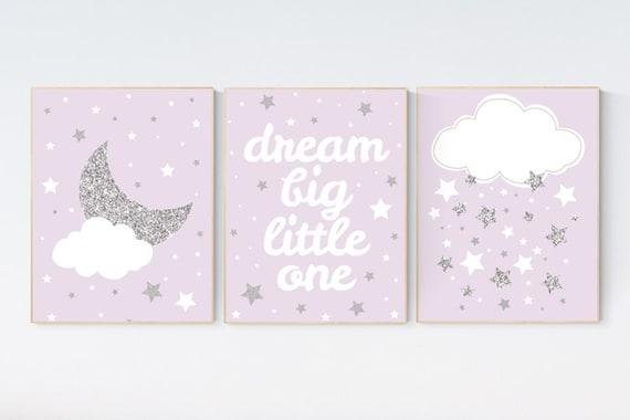 Nursery decor girl purple silver, lavender nursery art, lilac nursery, girls room decor purple, lavender and grey, dream big little star