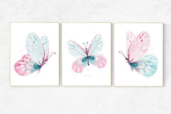 Nursery decor girl butterfly, pink and mint nursery, mint pink nursery, girl room prints, baby girl nursery wall art butterfly wall art pink