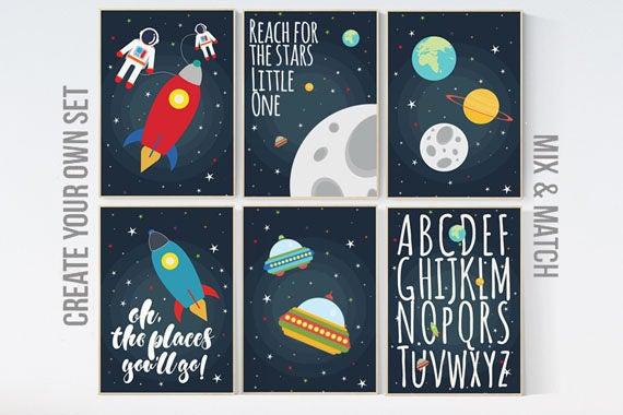 Space nursery decor, Oh the places you'll go, nursery decor boy, outer space nursery, space print, Space themed nursery, boys room decor