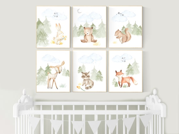 Woodland nursery decor, animals prints, woodland themed nursery, nursery art woodland, nursery prints gender neutral, woodland nursery ideas