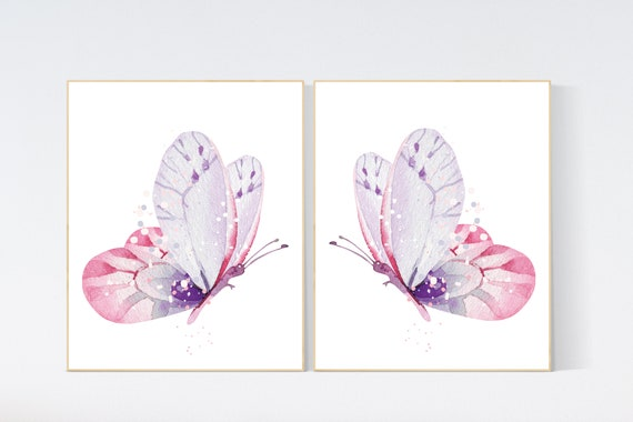 Purple pink nursery, nursery decor girl, butterfly nursery wall art, Nursery decor girl purple and pink, lavender, lilac, girl nursery