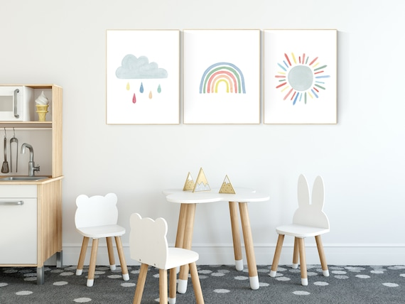 Nursery prints rainbow, Nursery decor gender neutral, nursery wall art boy, moon star, cloud, nursery wall art neutral nursery print