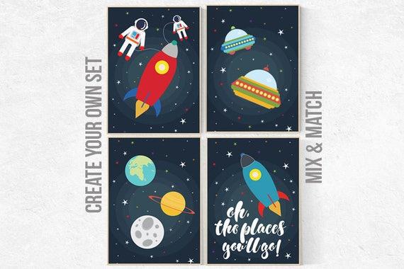 Nursery decor boy, Space nursery decor, Oh the places you'll go, outer space nursery, space print, Space themed nursery, boys room decor