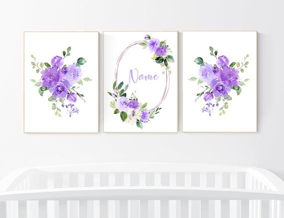 Nursery decor girl purple, floral nursery, flower nursery, purple nursery, lavender, name nursery, floral nursery, purple flowers